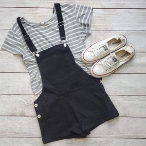 Pants - Black Short Overalls Outfit